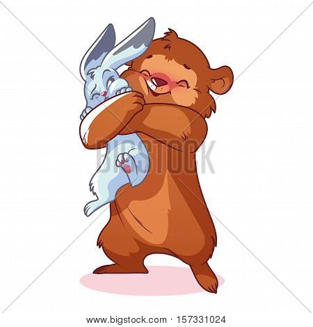 Cute bear hugs rabbit. Vector cartoon characters on a white background.