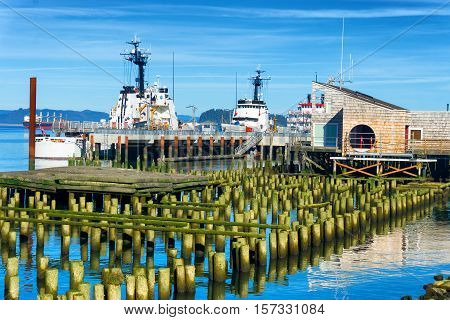 Boats and old docks on the Columbia River in Astoria Oregon