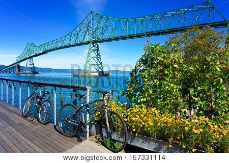 ASTORIA OR - SEPTEMBER 25: Astoria Megler Bridge with bicycles in the foreground in Astoria Oregon on September 25 2016
