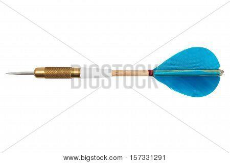 Sharp blue dart isolated on white background