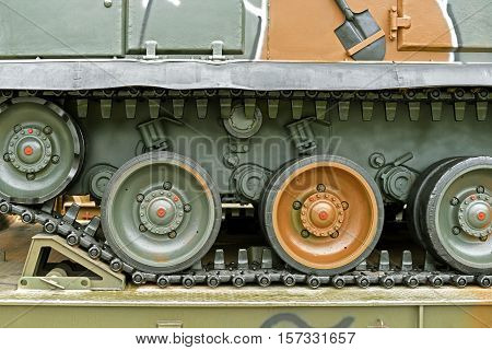 Close-up View at the Caterpillar Track of a Military Tank
