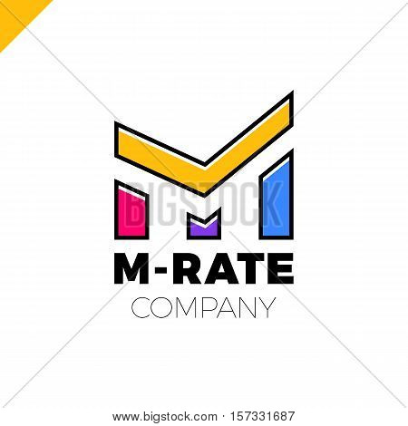 Letter M Logo Or Mm Initials Two Modern Monogram Symbol, Verify, Approve, Check Rate Or Graph Logoty