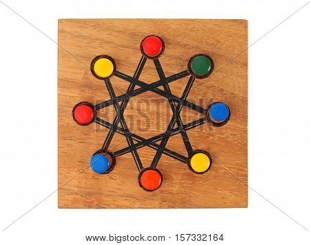 Board and pieces of logic game on white background