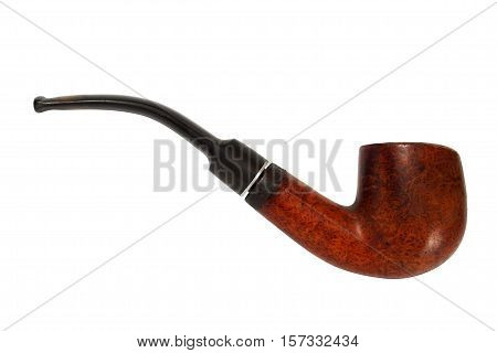 Old tobacco pipe isolated on white background