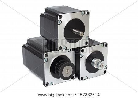 Three stepping motors isolated on white background