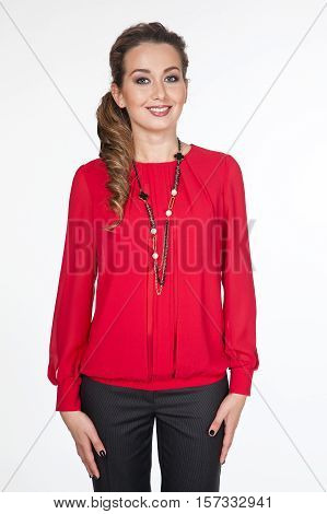 woman in official red blouse stretch trousers close up portrait isolated on white