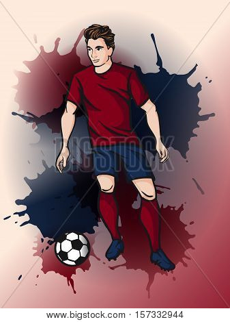 Soccer player kicks the ball. Vector illustration. Vector cartoon football player dribbling the ball.