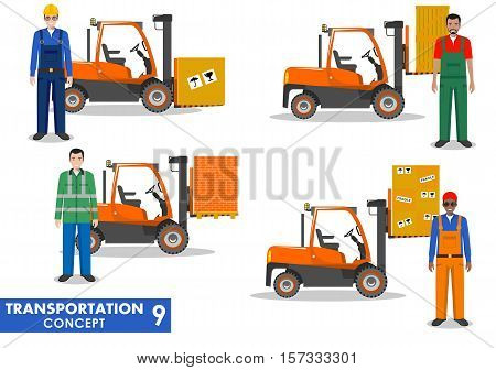 Detailed illustration of forklifts and workmans in flat style on white background.