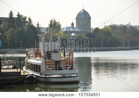Lake in the city of Ternopil in Ukraine