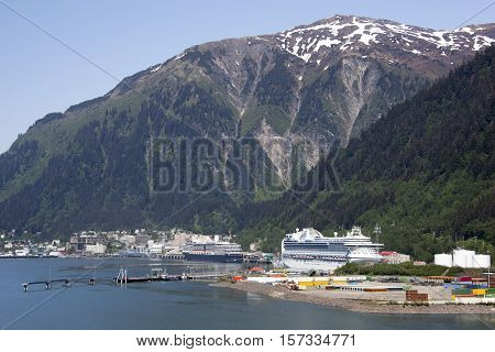 The view of cruise liners docked in Juneau the capital of Alaska.
