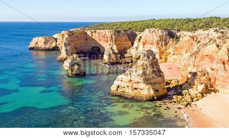 Aerial from Praia da Marinha in the Algarve Portugal