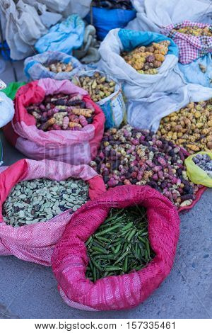 Produce from the local market in Chivay, Colca Canyon, Peru