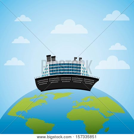 big cruise inside earth planet over sky background. colorful design. ector illustration