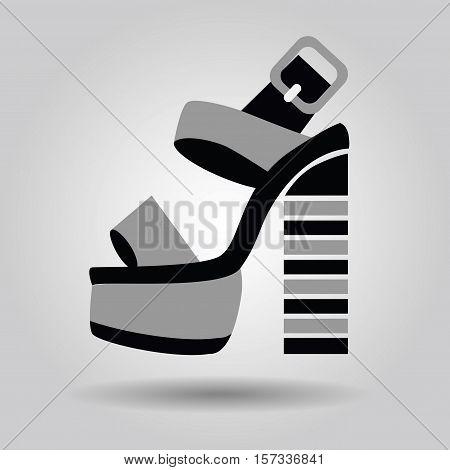 Single women platform high heel shoe with striped heels icon on gray gradient background