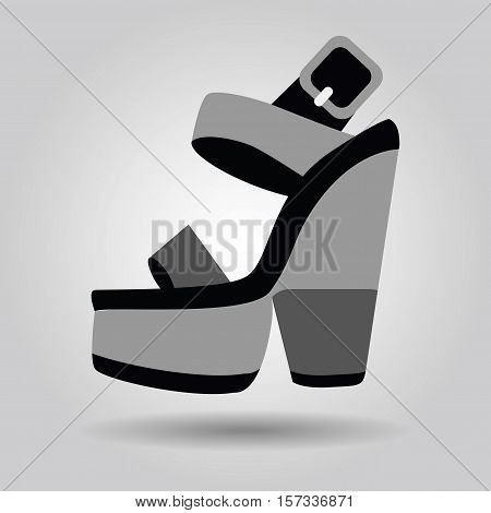 Single women platform high heel shoe with thick heels icon on gray gradient background