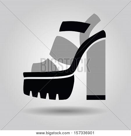 Single women platform high heel shoe with solid heels icon on gray gradient background