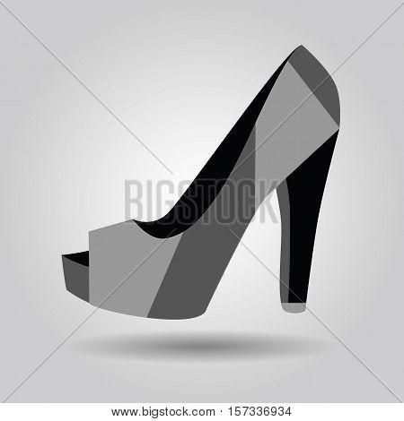 Single women peep toe high heel pattern shoe icon on gray gradient background