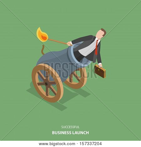 Successful business launch vector flat isometric illustration. Man is setting on fire the cannon to fly out of it for making a first jerk of his business.