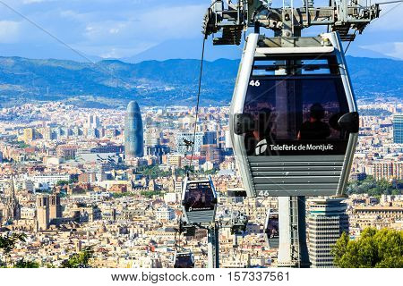 Barcelona, Spain - May 27, 2016: Montjuic funicular, panaramic view of Barcelona, skyscraper Tower Aguas de Barcelona