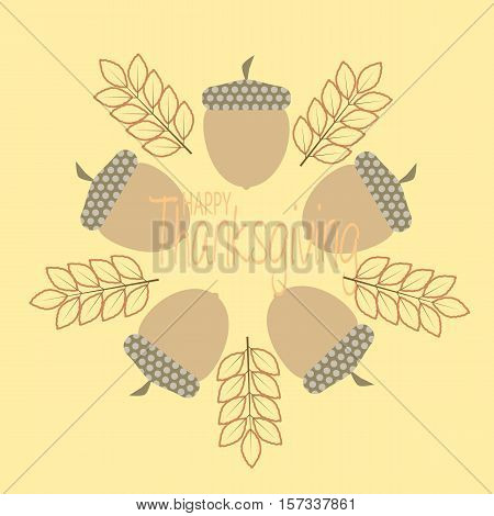thanksgiving greeting card in pale brown with autumn leaves and cornucopia in circle