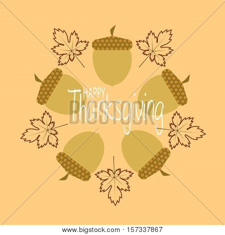 thanksgiving greeting card with maple leaves and cornucopia's circle in pale brown background