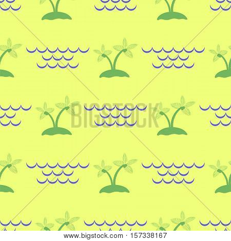 Palm Seamless Pattern on Isolated Yellow Background