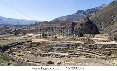 Panoramic view of the city of Chivay, Colca Canyon, Peru