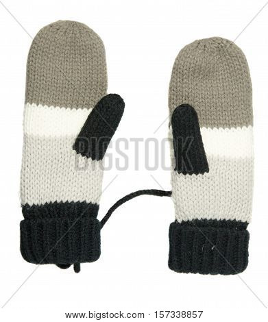 Mittens Isolated On White Background. Knitted Mittens. Mittens Top View.