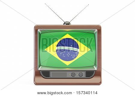 TV set with flag of Brazil. Brazilian Television concept 3D rendering isolated on white background