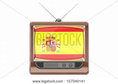 TV set with flag of Spain. Spanish Television concept 3D rendering isolated on white background