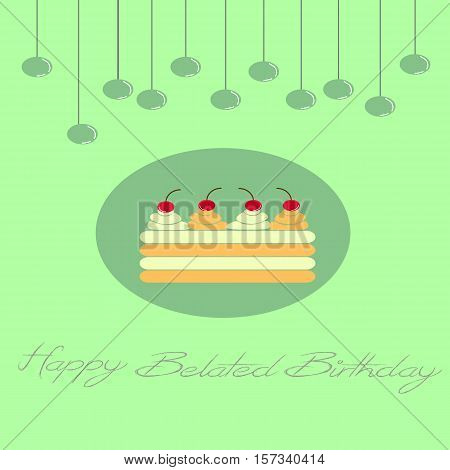 birthday greeting card with a cake and sparkled hanging balls