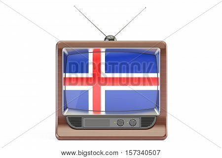 Old TV set with flag of Iceland. Icelandic television concept 3D rendering isolated on white background