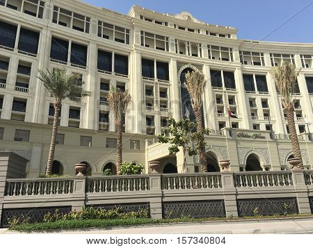 DUBAI, UAE - SEP 9: Palazzo Versace palatial luxury hotel in Dubai, UAE, as seen on Sep 9, 2016. It is located in Culture Village on the foreshore of Dubai Creek.