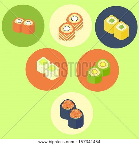 set of sushi platters with various kinds of sushi