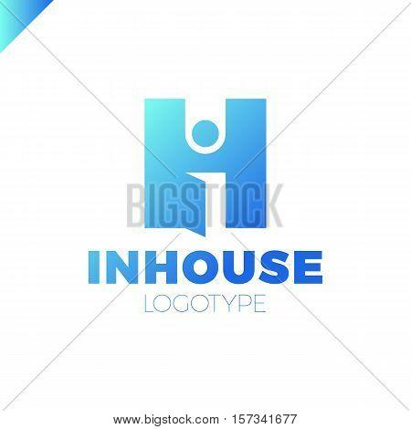 Letter I And H Monogram Logo. Interior Design Abbreviation Ligature Sign. Open Door Concept.