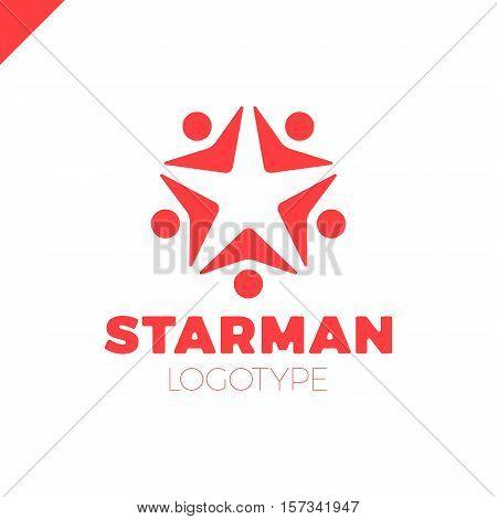 Five People Star Logo Design Template