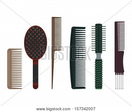Set of hairdressing combs: rake comb brush tail comb cutting comb radial brush and pin tail comb.
