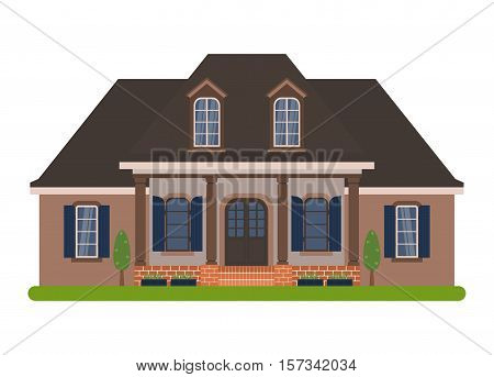 Modern country house in Acadian style. Vector illustration of a tourist house for rent sale booking and living isolated on white background.