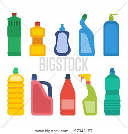 Set of bottles for household chemicals and cleaning supplies.