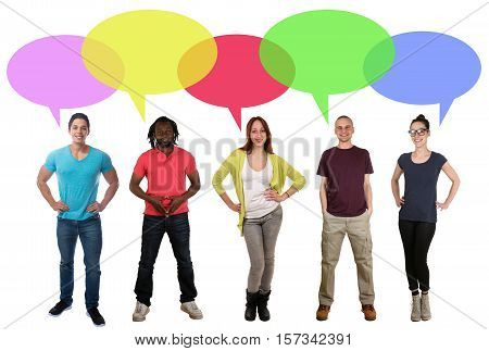Smiling multi ethnic group of young people talking speaking saying speech bubble copyspace