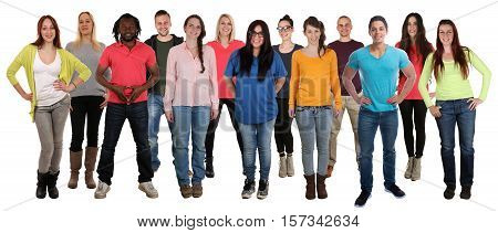 Group of smiling standing young people happy integration multi ethnic isolated on a white background
