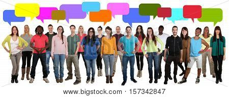Multi Ethnic Group Of Smiling Young People Talking Saying Speaking Conversation