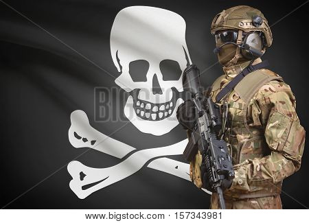 Soldier In Helmet Holding Machine Gun With Flag On Background - Jolly Roger