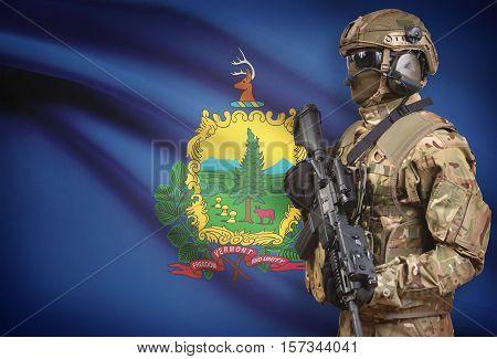 Soldier In Helmet Holding Machine Gun With Usa State Flag On Background Series - Vermont