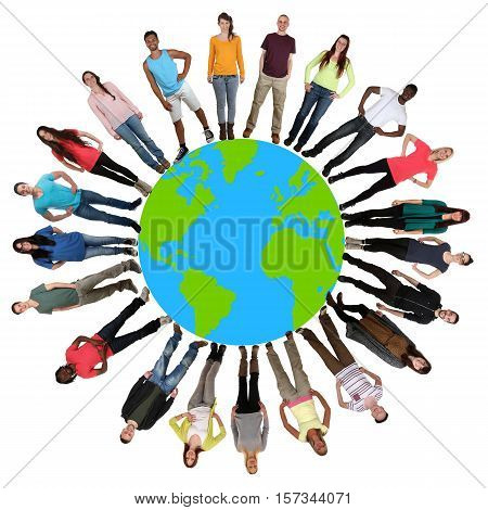 Group Of Young People Environmental Protection Happy Multicultural Multi Ethnic On World Earth