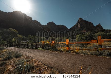 Zion National Park at full moon, USA