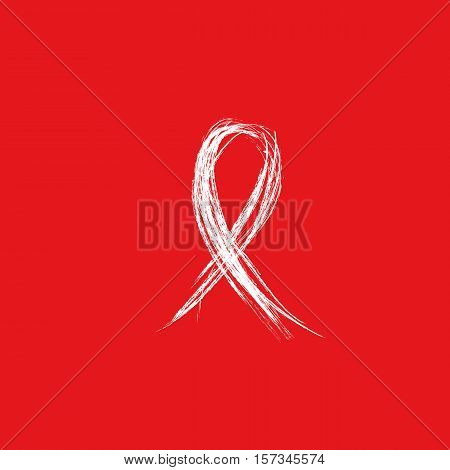 Isolated white ribbon disease awareness. World Aids Day concept. Stop virus icon on red background. International support campaign for sick people. Vector illustration