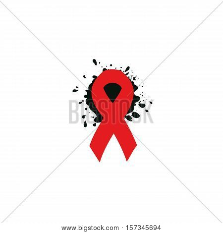 Isolated red ribbon disease awareness. World Aids Day concept. Stop virus icon. International support campaign for sick people. Vector illustration