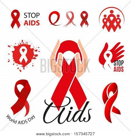 Isolated red ribbon disease awareness logo. World Aids Day concept lgotype set. Stop virus icon. International support campaign for sick people. Waving scarf vector illustration