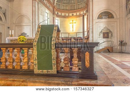 Milan, Italy - November 15, 2016: altar with bible lectern of church Santa Maria Delle Grazie.